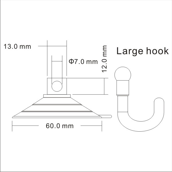 technical drawing big large suction cup hooks