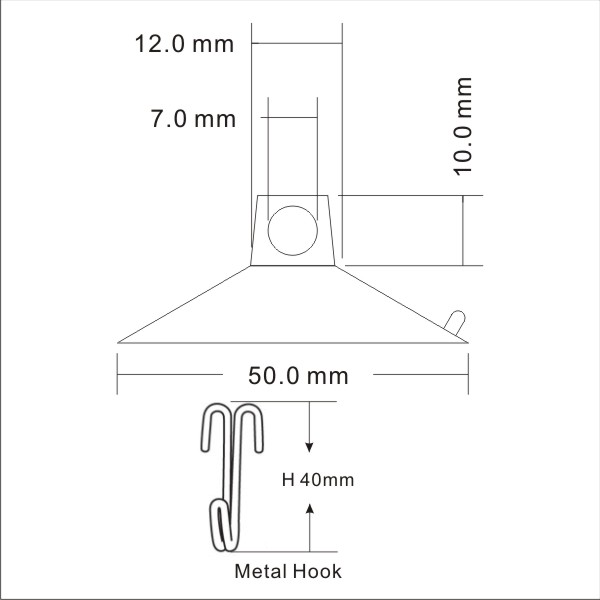 technical drawing large suction hooks