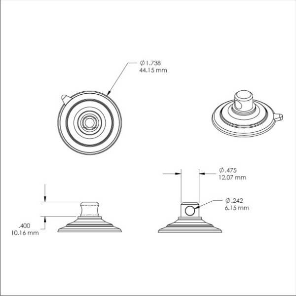 technical drawing medium kingfar suction cups with side pilot hole