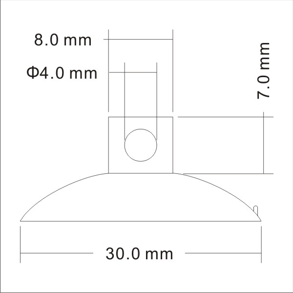 technical drawing small suction cups with side pilot hole
