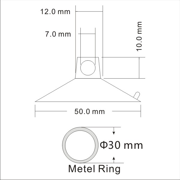 technical drawing large suction cups with ring