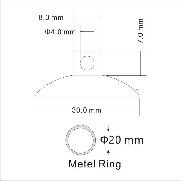 technical drawing small suction cup with keyring